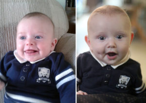 Left is M, right is Baby Y. The dimple gives it away...