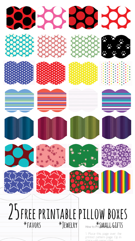 Grab these 28 COOL free printable pillow boxes - yes, that's 28 free designs in two easy downloads (because it's too many to upload as one!) Use these as birthday party favors or as easy wrapping for small gifts.