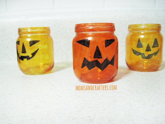 DIY Jack o lantern tea light holders for halloween - halloween crafts