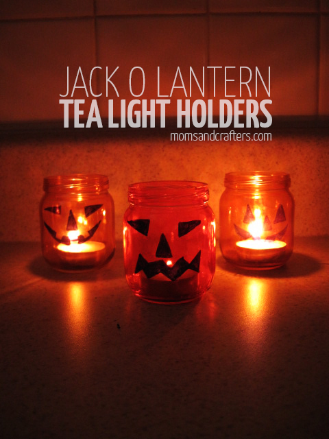 DIY Jack o lantern tea light holders for halloween - a great halloween craft to upcycle baby food jars!