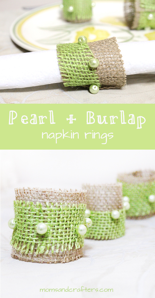 Make these awesome pearl and burlap napkin rings using burlap ribbon from burlapfabric.com. They make beautiful, country chic or shabby chic table decor and are perfect for a rustic  wedding or any natural scheme