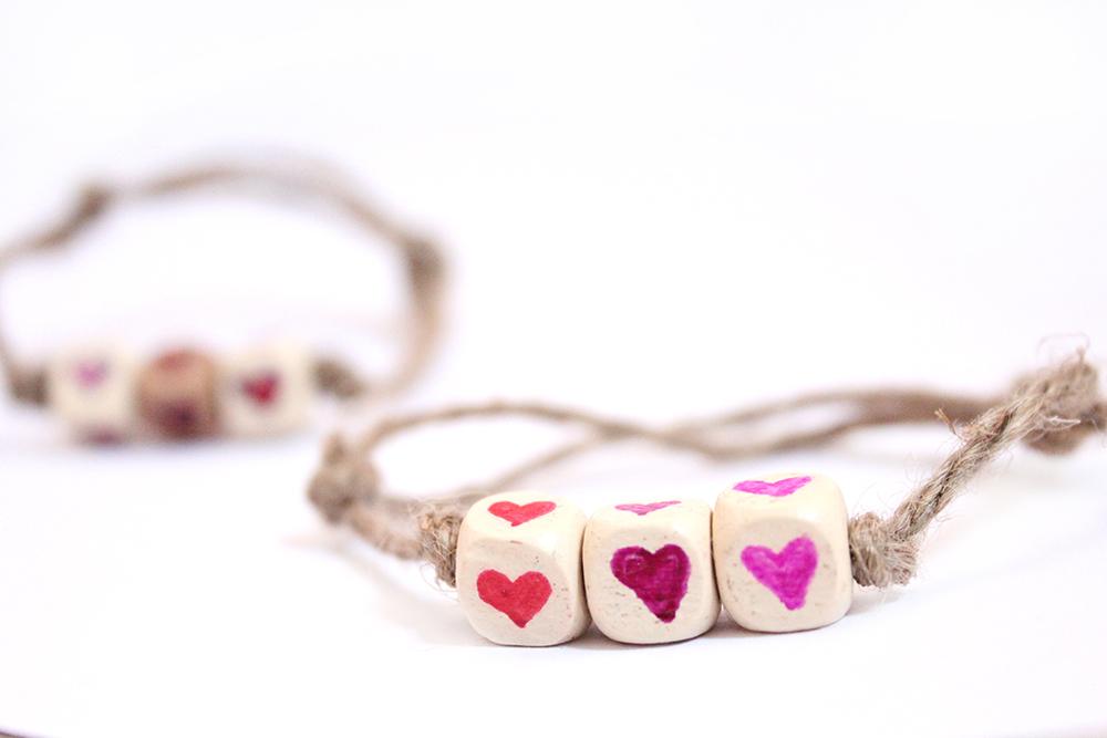 DIY heart friendship bracelets for valentines day!