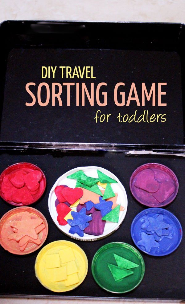 Make this DIY travel sorting game for toddlers - it's easy, cheap, upcycled, and teaches many important lessons and skills.