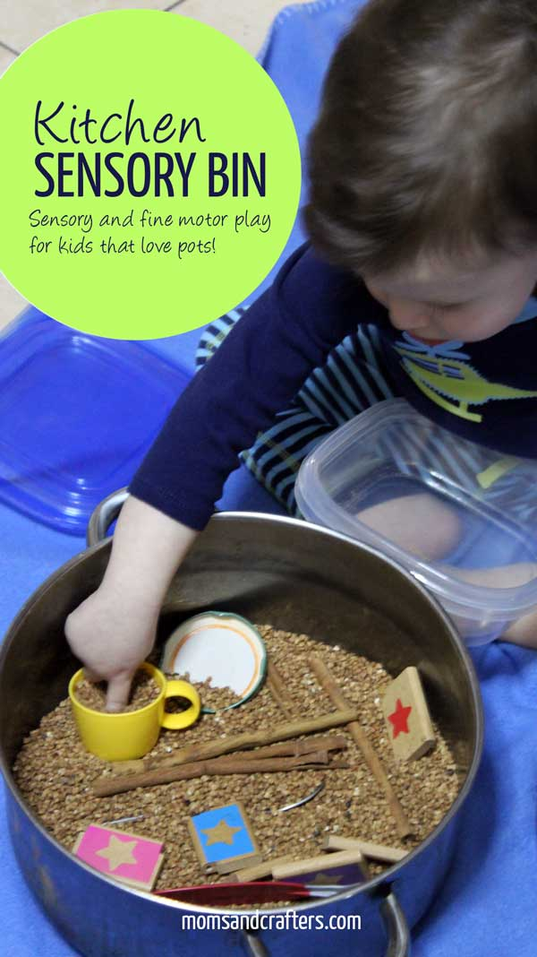 A kitchen sensory bin is a great way to engage a young child who loves role play and playing with pots and pans. It as been a lifesaver for me, and I'm happy sacrifice the pot that my baby has already banged up :)