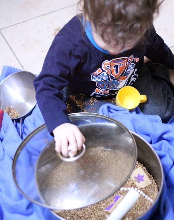 kitchen sensory bin