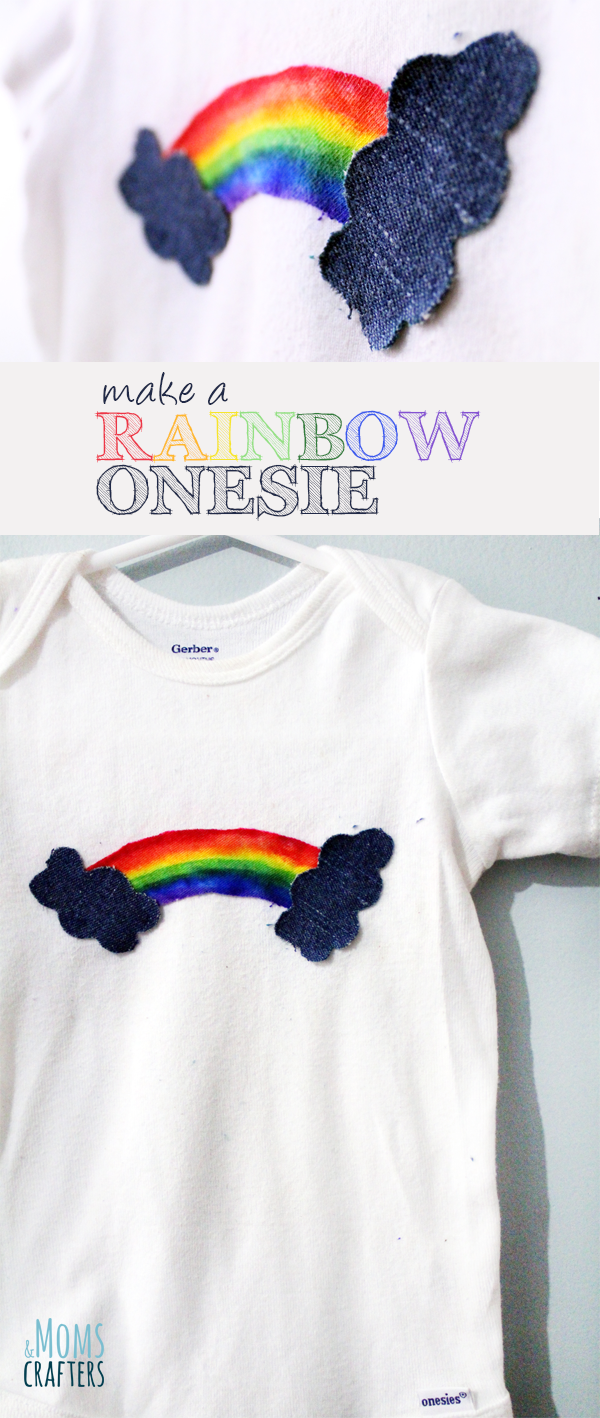 This adorable rainbow onesie baby shower gift is so pretty and so easy to make! The supplies are cheap too! Click for instructions on how to set the sharpies so that the colors don't run