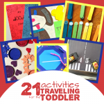 "A master list of 21 affordable, easy to do, practical travel activities for toddlers! Includes free printables, DIY ""toys"", and travel-themed activities. Fun activities for one, two, and three years old in travel themes"