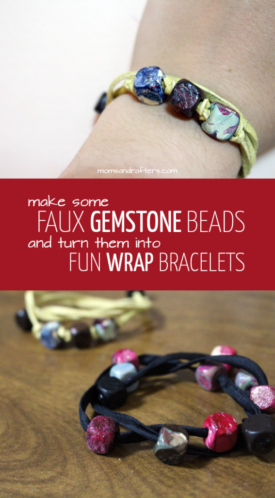 "First, make beautiful, marbleized ""faux gemstone"" beads, then turn the into these fun DIY wrap bracelets - a perfect handmade mother's day gift! It's beginner jewelry making craft tutorial, so anyone can try it."