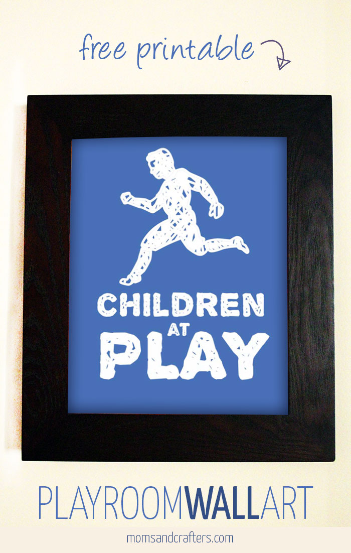 Decorate your playroom on the cheap! Download this free printable playroom sign that says on it 'children at play'