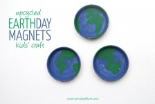 What better way to celebrate Earth day than with an upcycled Earth Day craft? These simple magnets are so cheap and easy to make and they upcycle two types of junk you may have.