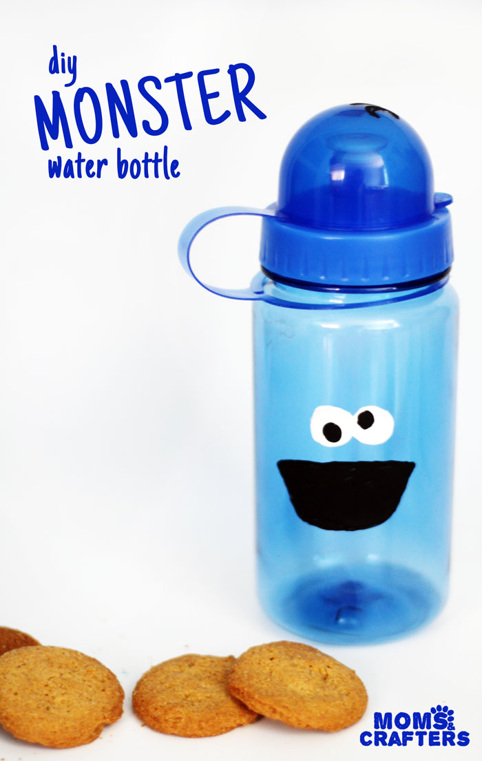 Make an adorable monster water bottle for your little one! This precious cookie monster inspired craft is easy and inexpensive to make
