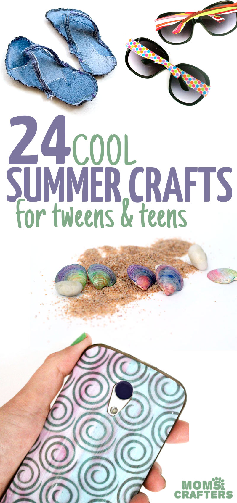 25 Cool summer crafts for teens and tweens are sure to keep them busy during these months! from DIY sunglaees, to flip flops and tees, these are all totally awesome!