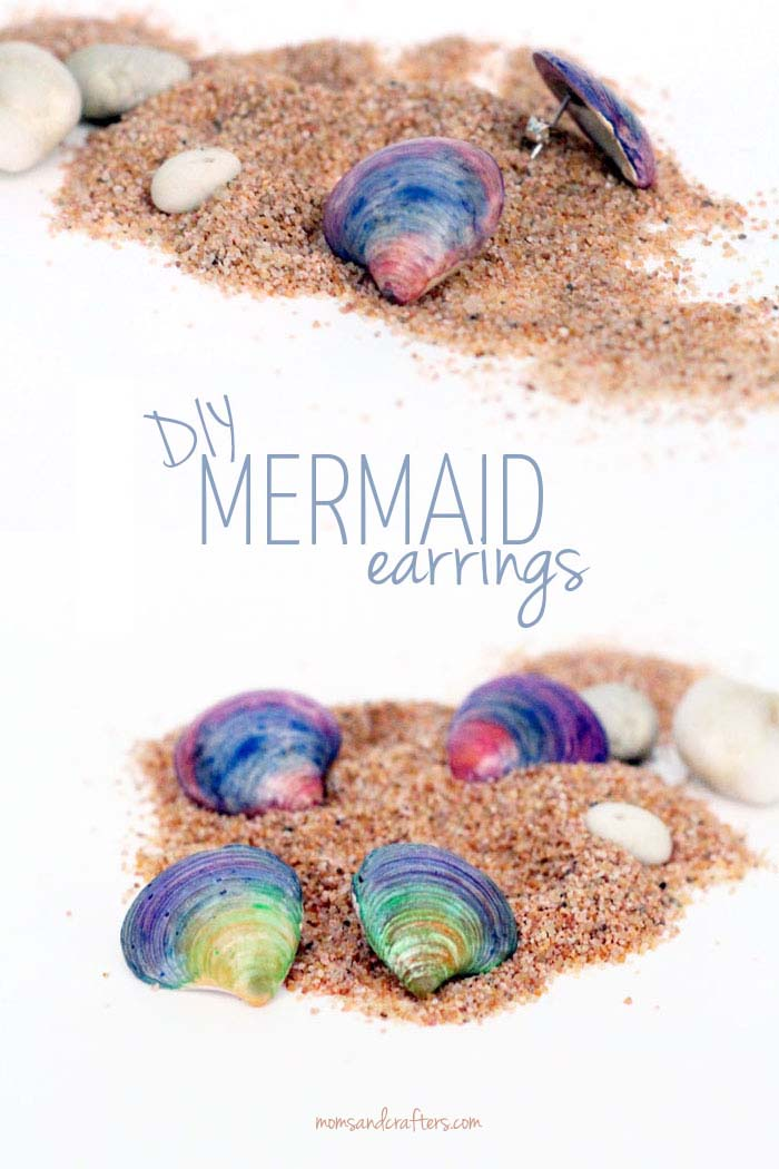 Diy seashell earrings moms and crafters for Seashell crafts for adults