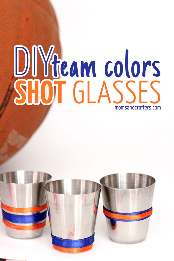 Need a gift for that guy in your life? These  DIY shot glasses are customized in his favorite team's colors and is the perfect gift for a sports fan! Makes a perfect father's day gift or gift for a guy for holidays