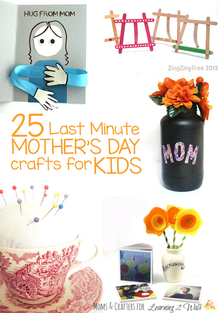 These 25 Mother's Day crafts for kids can be pulled together at the last minute! Click to check them out.