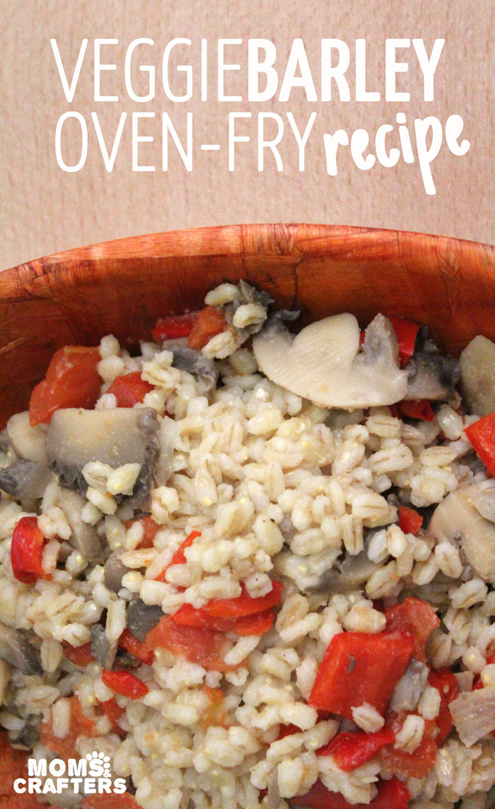 "Make this delicious and easy veggie barley oven fry recipe! It's an easy dinner that you can ""dump and serve"" - perfect for busy moms. It's like a stir fry, but much easier."