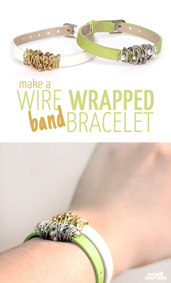 Do you love trendy jewelry? This wire wrapped bracelet tutorial steps a little outside the box, and brings you something that's so easy to customize.  It's a fun beginner jewelry making craft.
