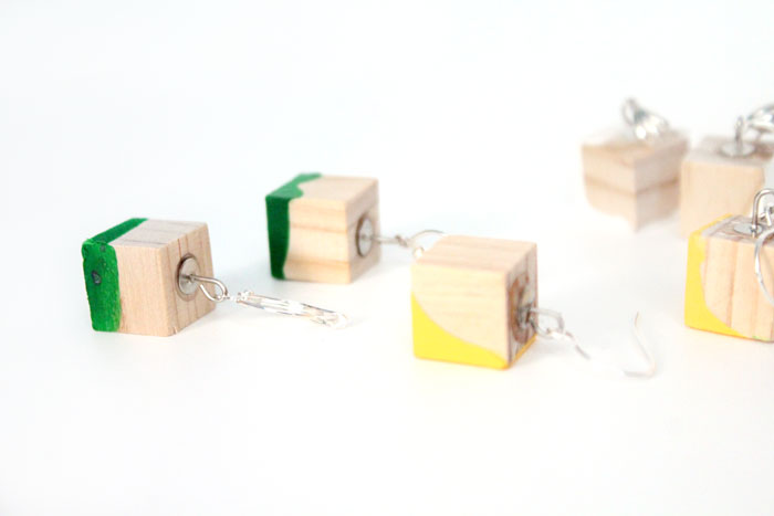 I am obsessed with these adorable DIY color block earrings - they're so lightweight because they're made of wood, too. It's such an easy, cheap jewelry making craft