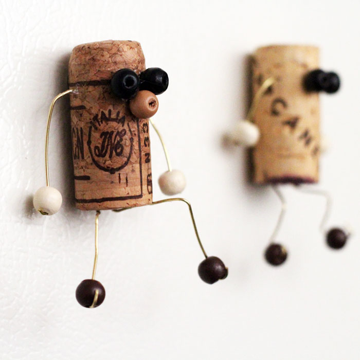 Make these quirky upcycled cork magnet crafts and give them to a loved one as a gift! They're fun, faceless and will spice up your fridge.