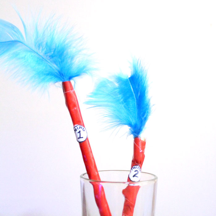 Make these adorable Dr. Seuss inspired craft featuring Thing 1 and Thing 2! It's an adorable DIY for back to school or any time of year, and is perfect for kids, teens and tweens!