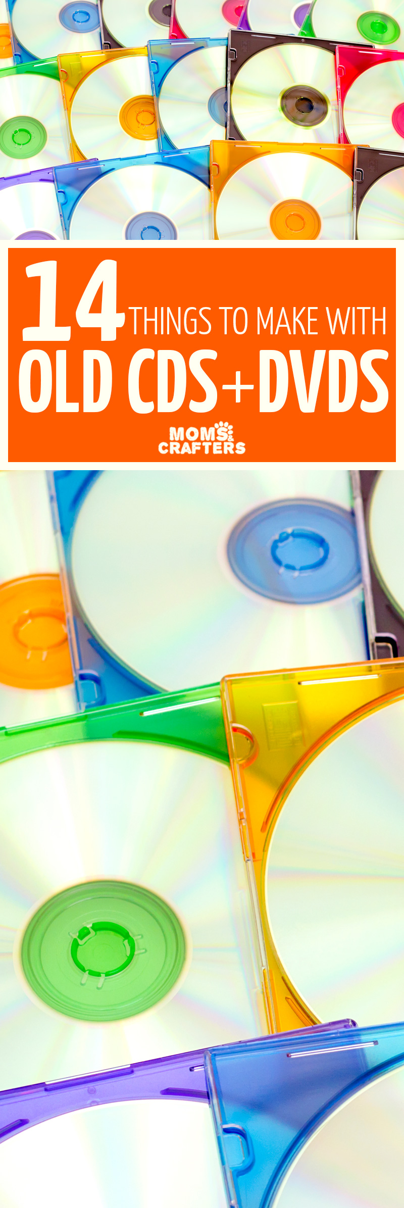 IF you're looking for cool ways to upcycle old cds and dvds you'll love these things to do with cds and dvds! These cool things to make with old cds include easy DVD and CD crafts for kids, adults, and teens too! #cdcrafts #upcycle #recycle #easycrafts #dvdcrafts #recycledcraft