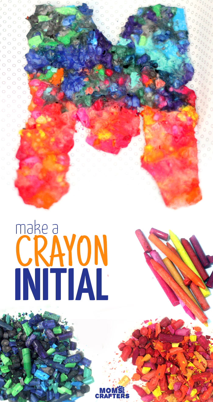 Make and frame this beautiful DIY crayon initial art for your playroom or nursery! It's playful, graphic, and eye-catching, and a must-try for your children's decor. The coolest part: your child can help make this fun kids craft!