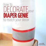 Check out this amazing, simple tutorial to decorate a diaper genie! Such a genius idea for DIY nursery decor that is also functional, and an easy, doable craft for moms and new baby.