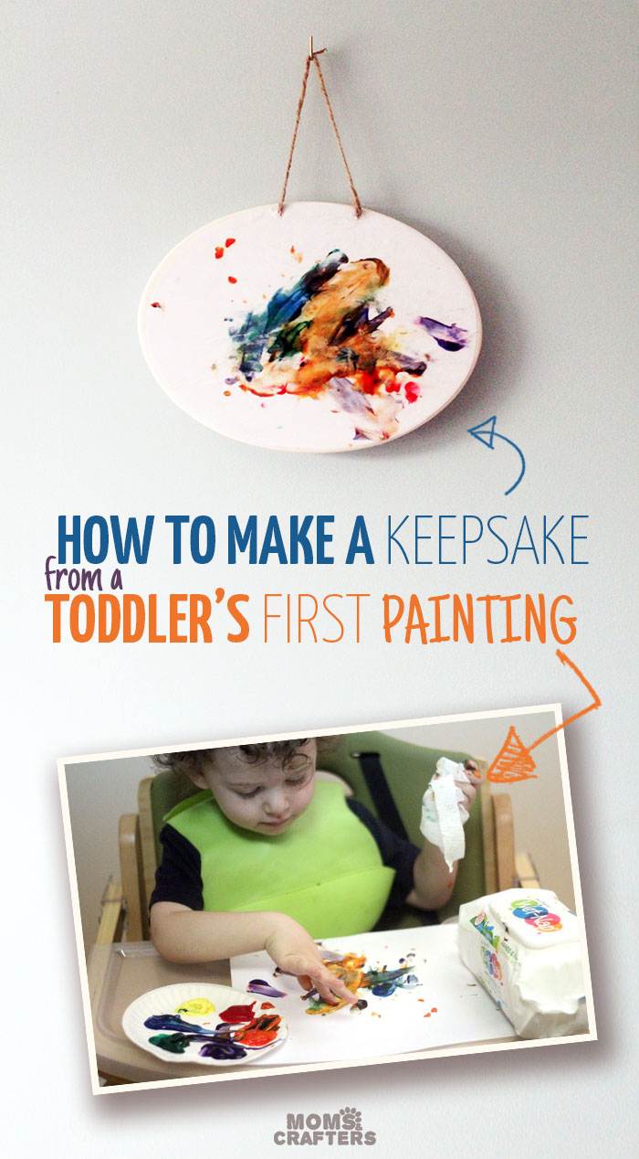 Make an adorable and pretty keepsake out of your toddler's first finger painting! It's easy and simple, and a great kids craft and way to preserve children's artwork.