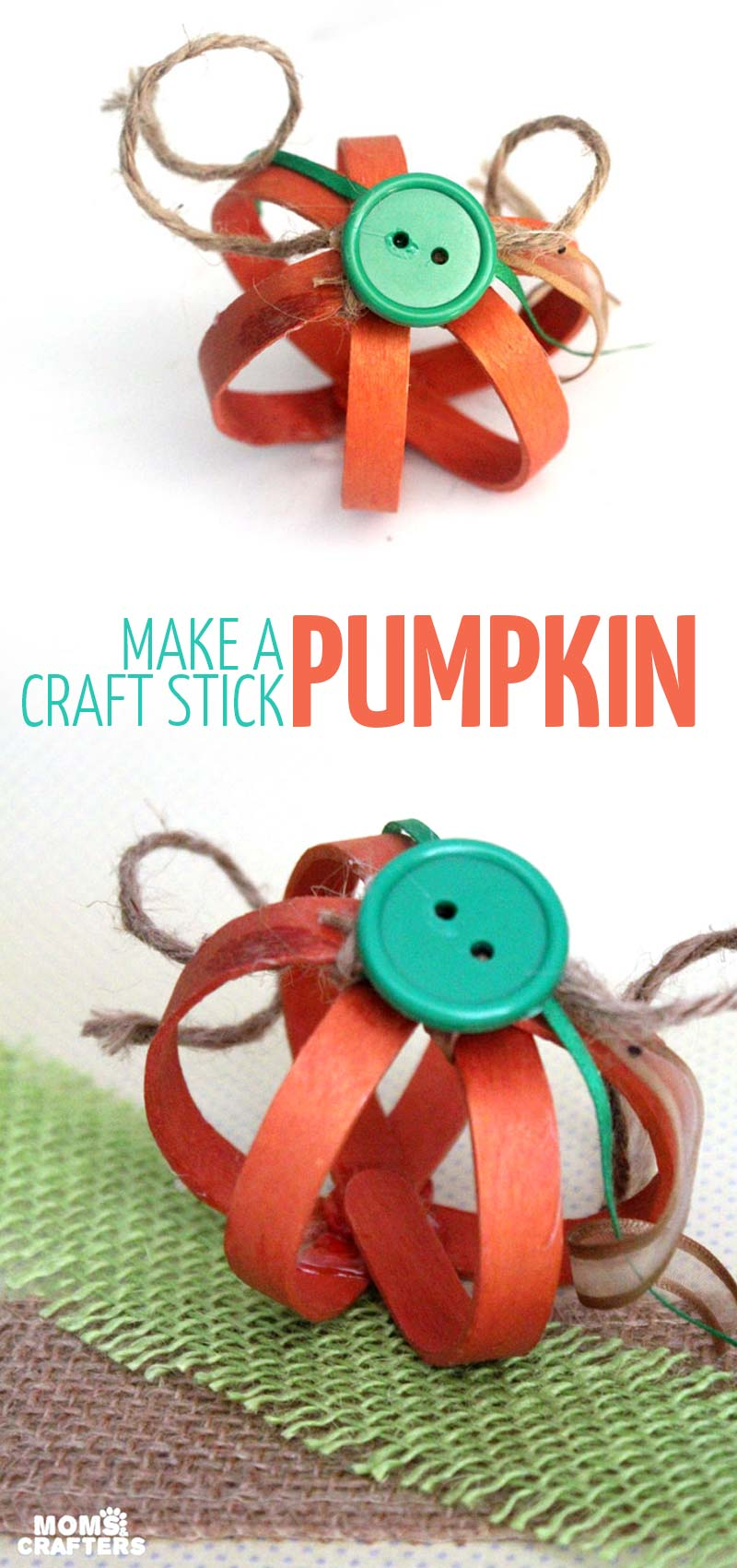 This bent craft stick pumpkin craft is so adorable - you'll want to make a lot for your Autumn or Halloween decor! It's an easy fall mantel decor idea and a simple DIY for teens, or grown ups.