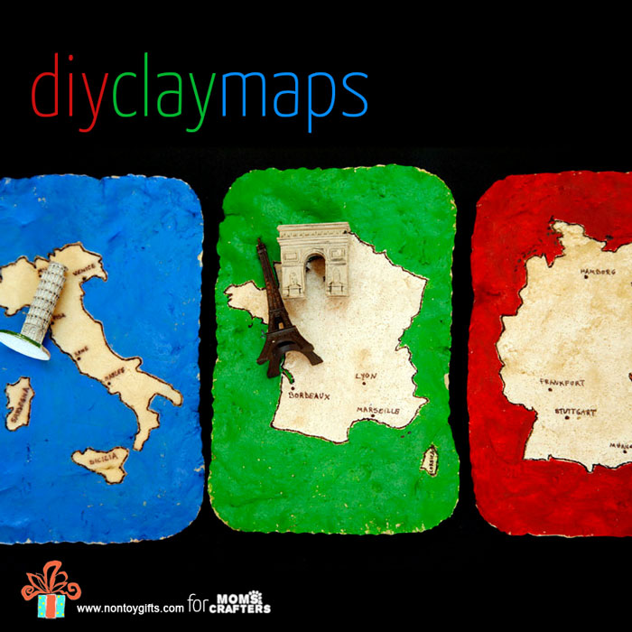 DIY clay maps are easy to make - and even more fun to play with! It's a great travel activity and craft for kids and an educational DIY toy