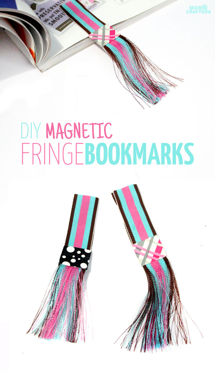 Make your own DIY magnetic bookmarks with a fun fringe! It's a super easy party craft for kids or teens, and great for encouraging reading.