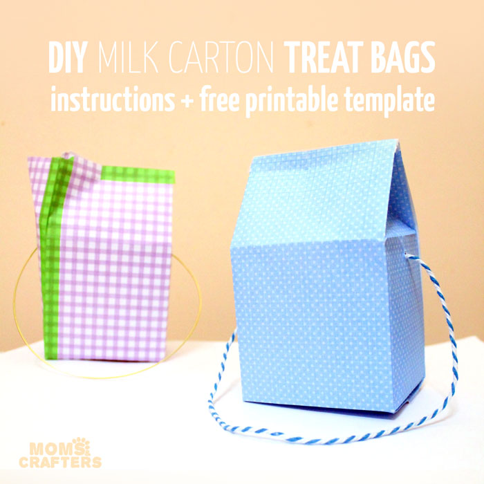 Make these adorable DIY Milk Carton Treat Box or bags with the free printable template! They are perfect for halloweeen, birthday parties, or any favors or gifts