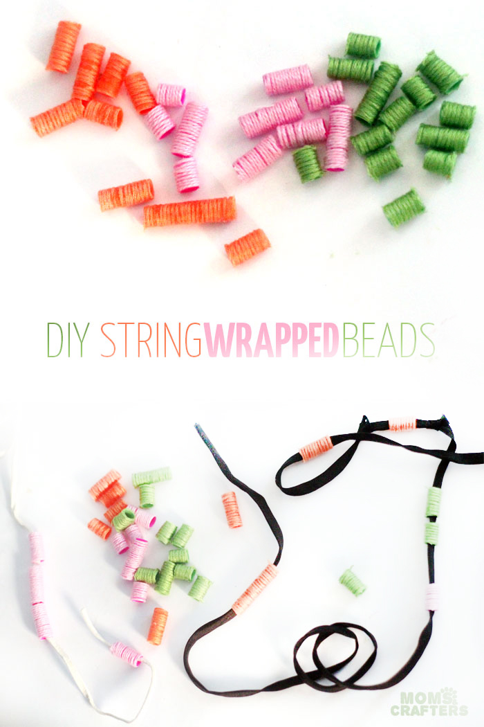 Make these beautiful DIY string wrapped beads and then make your own jewelry with them! It's an easy jewelry making craft for kids, teens, or beginners.