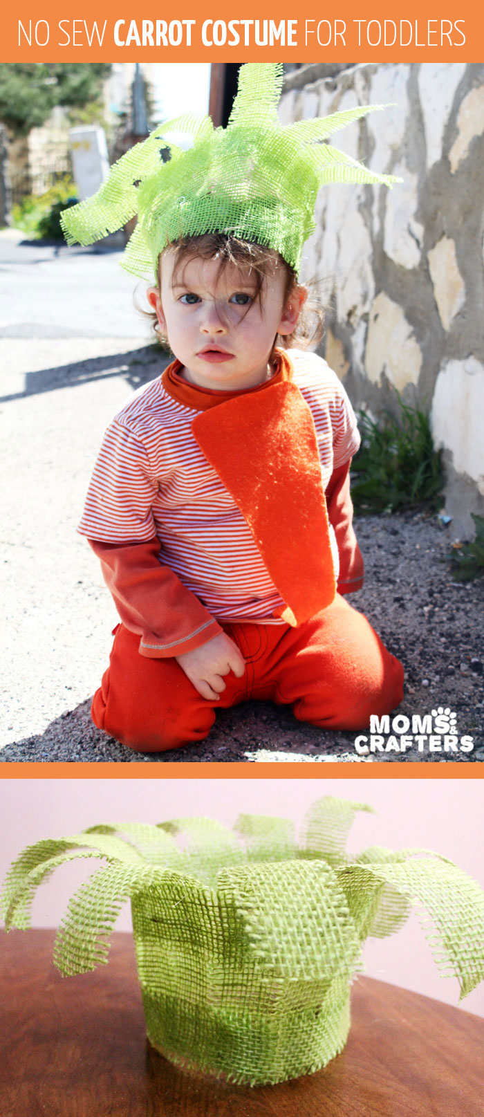 I love this Halloween costume for toddlers - such a great DIY idea! Itu0027s a  sc 1 st  Moms and Crafters & DIY No Sew Carrot Costume for Toddlers - Moms and Crafters