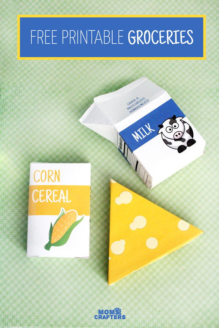 Oh, these are so stinkin' cute - and you can print it for free! Free printable groceries for pretend play and fun kids activities - including cereal, milk, and cheese. Print the designs or make your own.