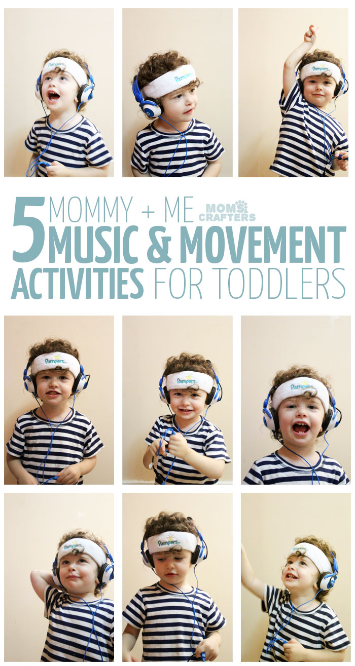 I love these mommy and baby gross motor activities! 5 Mommy and Me Music and Movement activities for toddlers - you'll love doing this with your 1-3 year old!