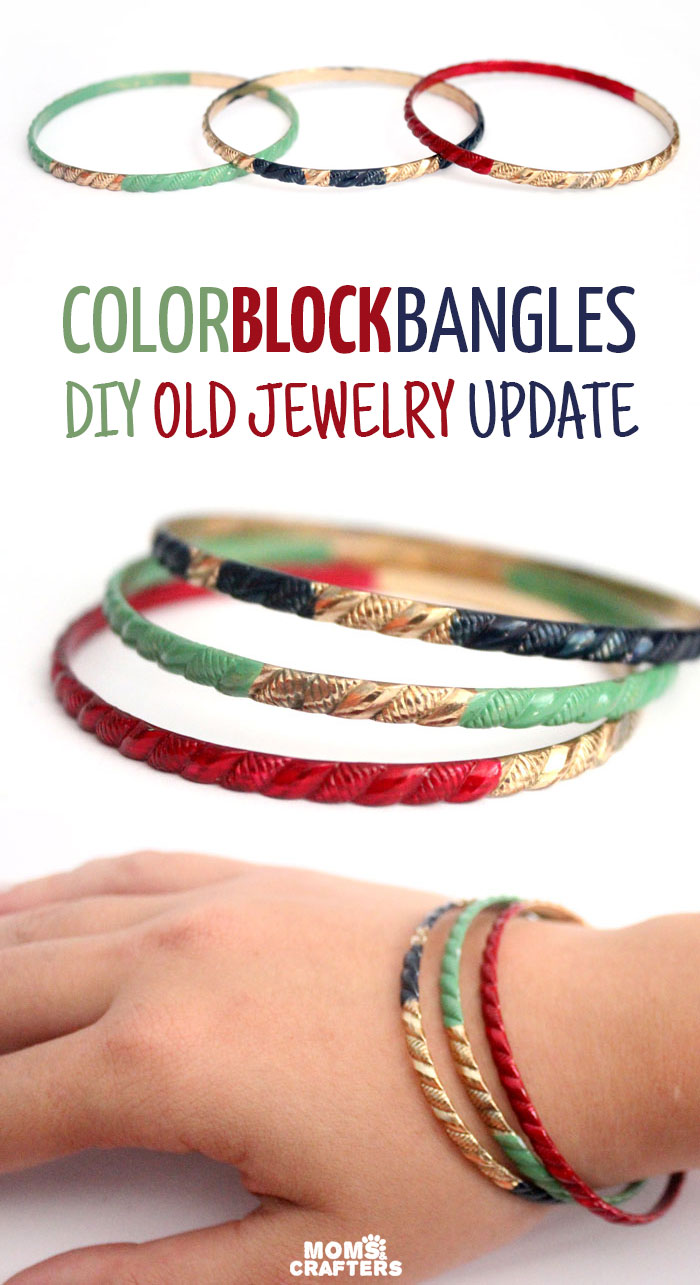 Revive makeover your old jewelry with these amazing color block painted bangles. Click to see which durable, hard-wearing, fast drying paint was used on this DIY recycled jewelry making craft!