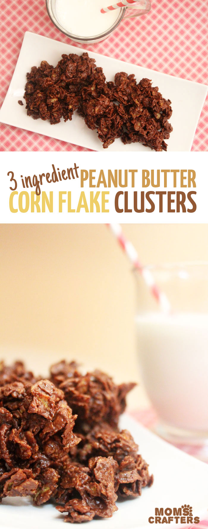 Delicious peanut butter corn flake clusters are a delicious take on a classic easy dessert or snack! Click for this 3 ingredient really easy recipe!