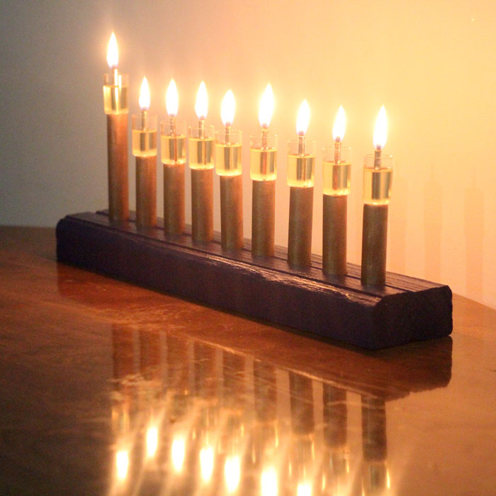 Magnificent DIY wood and copper menorah - cool craft for Hanukkah or Chanukah. Or just use it as any special event centerpiece!