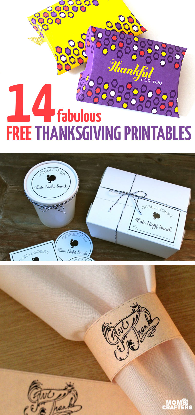 Click for 14 super cool free Thanksgiving printables, including some home decor and wall art, leftover packages, treat boxes, kids activities, table decor, and more!