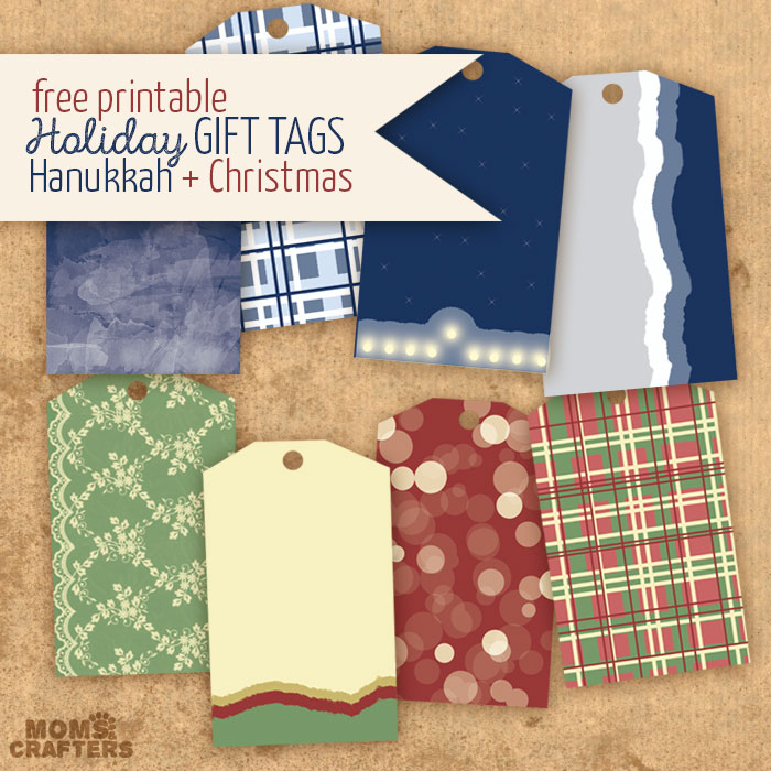 Print these free printable holiday gift tags, with designs for both Hanukkah and Christmas (two separate packs). Such a great, frugal DIY gift wrap idea!
