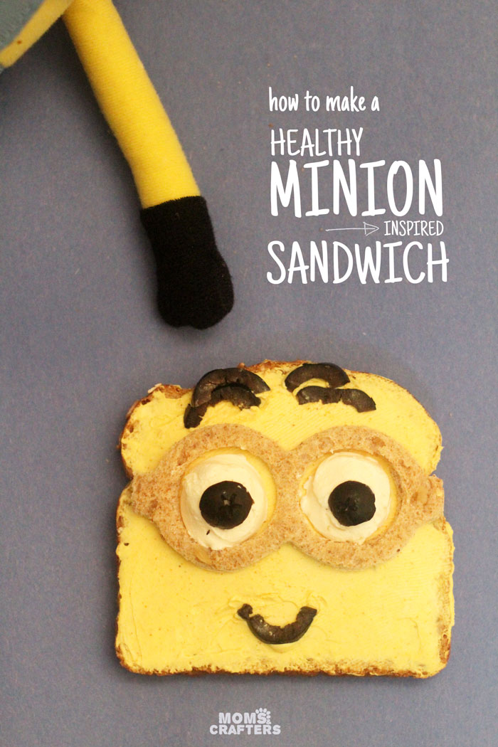 Make this adorable Minion sandwich - a healthy lunch or snack, perfect for kids. Your kids will even have fun making it with you!