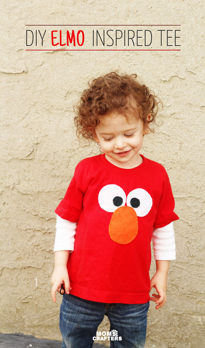 Diy elmo tee no sew moms and crafters mae an adorable diy no sew elmo tee shirt for your toddler perfect craft for solutioingenieria Image collections