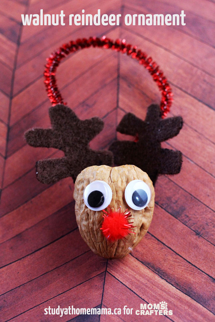 Make this reindeer ornament from a WALNUT! Such a cute, easy, frugal holiday craft for kids to make this Christmas - using nature and natural materials.