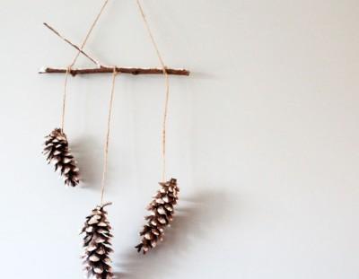 DIY Snowy Pine Cone Wall Hanging