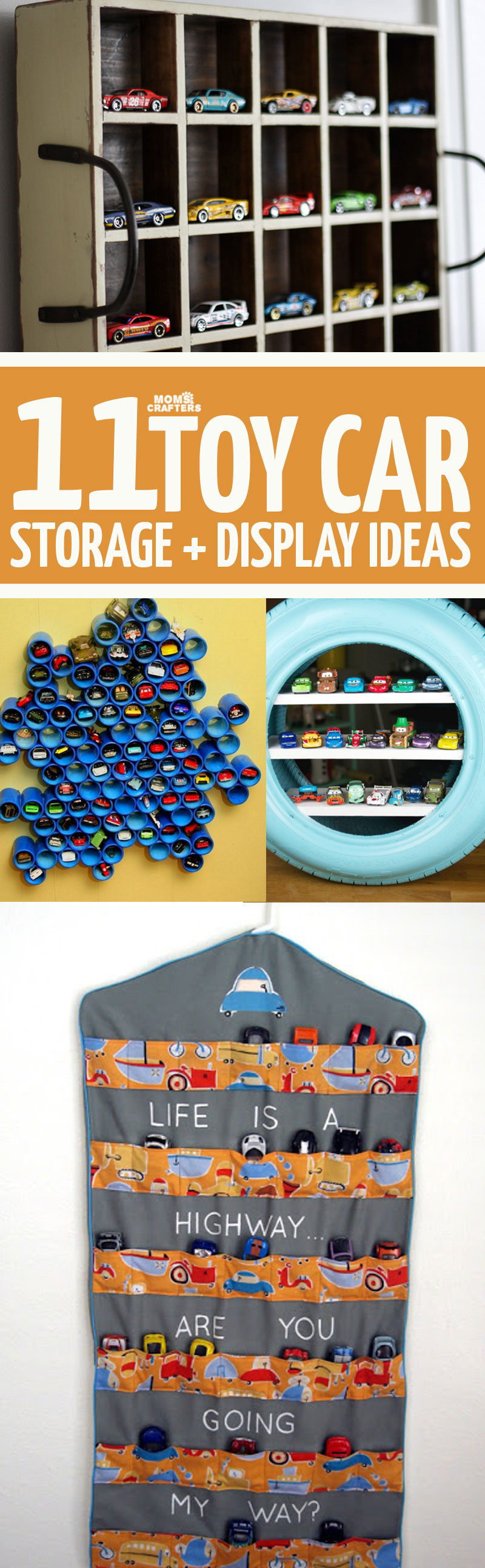 Click for 11 brilliant and beautiful Hot Wheels display and storage ideas - the perfect way to organize your toy cars! Display your Matchbox cars beautifully with these cool toy organization hacks. #organization #toys #hotwheels