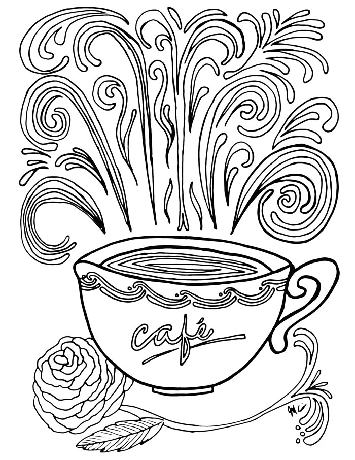coffee adult coloring pages 2 - Free Printable Adult Coloring Pages 2