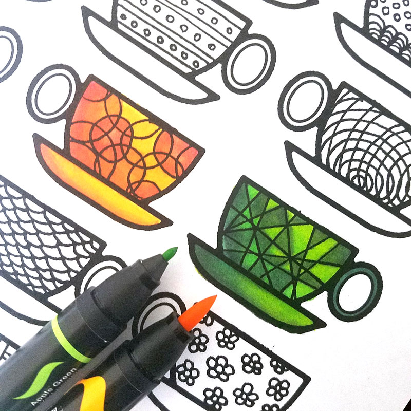 I love these coloring pages for adults in a coffee theme! The best part - they're free! I colored these free printable adult coloring pages TWICE because they are so relaxing and awesome. Click to get the high resolution hand drawn PDF coloring pages.