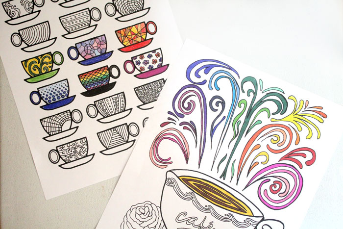 Free Printable Coloring Pages for Adults: Coffee Cups! - Moms and ...