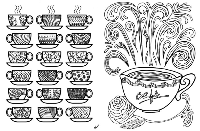 Free Printable Coloring Pages for Adults Coffee Cups Moms and – Printable Adult Coloring Page